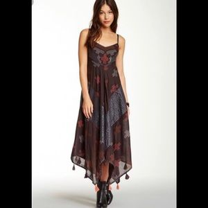 Free People black crossing paths embroidered dress